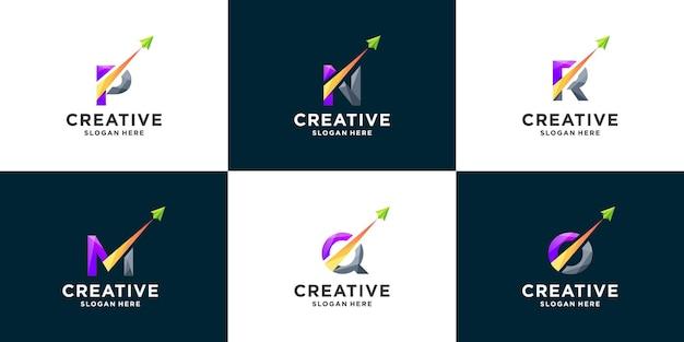グラデーションの文字と矢印のロゴデザインのインスピレーションのセット