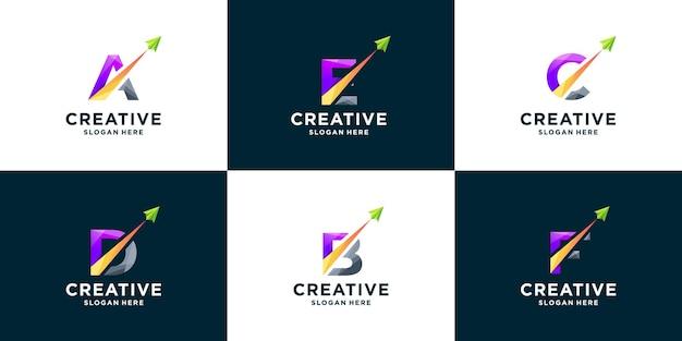 그라데이션 문자와 화살표 로고 디자인의 세트