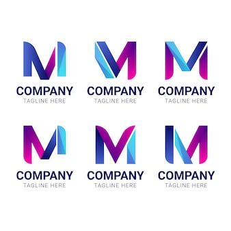 Набор шаблонов логотипов gradient m