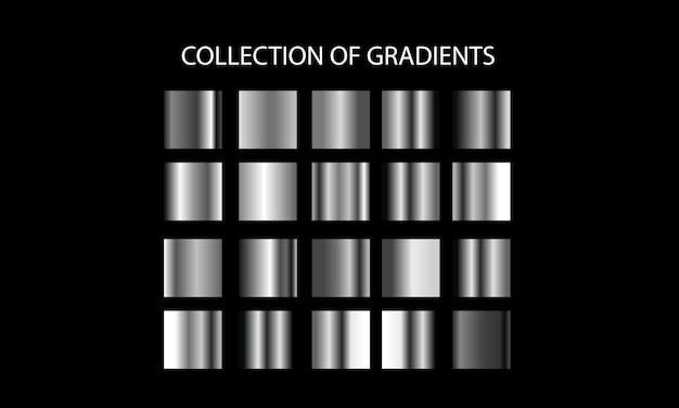 グラデーションのセット。カラフルなメタリックグラデーションの大きなコレクション