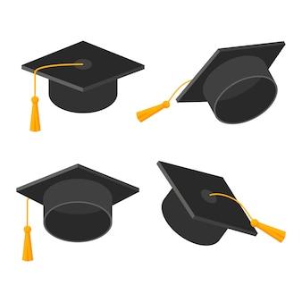 Комплект выпускного колпачка. академическая шляпа с кисточкой на белом фоне. векторная иллюстрация символа в плоском стиле. дизайн карты, баннера, логотипа, концепции образования