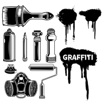 Set of graffiti mural or bombing tool with spray effect ink artwork tees or sticker pack