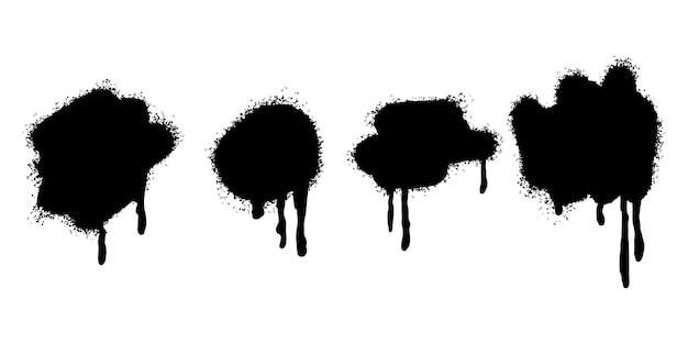 Набор граффити спрей нарисовал линии и точки гранж, изолированные на белом фоне. векторные иллюстрации.