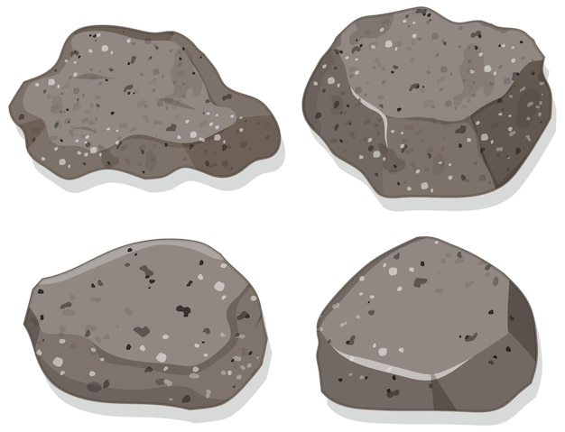 화강암 돌 흰색 배경에 고립의 집합