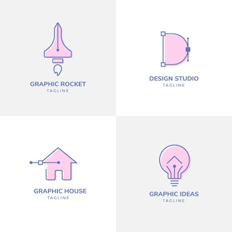 그래픽 디자이너 로고 템플릿 집합