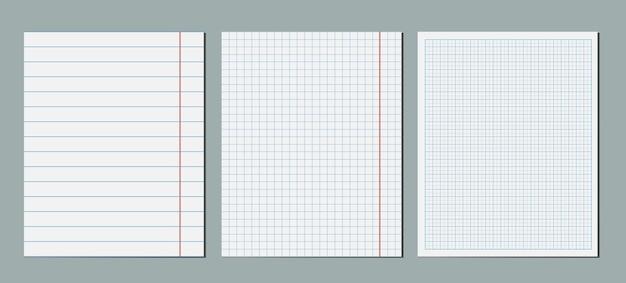 그래픽 빈 종이 시트의 집합입니다. 빈 정사각형 그리드 좌표 플로팅 줄 지어 종이 템플릿 팩.
