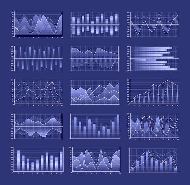 클러스터형 열 디자인을 포함한 그래프 및 차트 세트