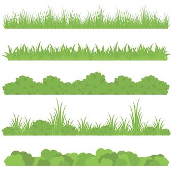 草のボーダーセット、ベクトルイラストのセット