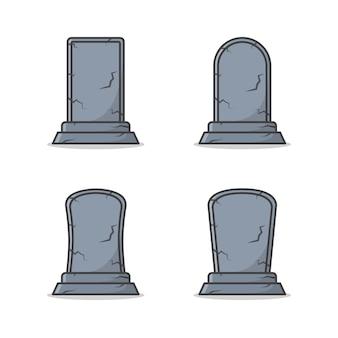 묘지 삭제 표시 벡터 아이콘 그림의 집합입니다. 묘비 평면 아이콘입니다. 장례식 상징 테마