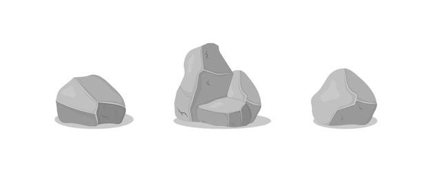 さまざまな形の灰色の花崗岩の石のセットです。
