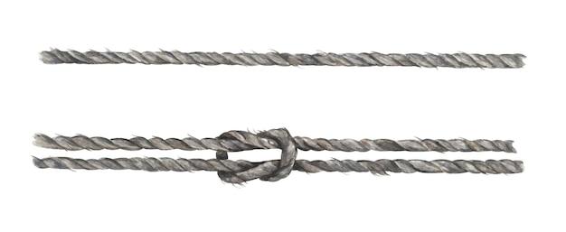 매듭이 있는 회색 밧줄 끈 세트입니다. 항해 스타일입니다. 수채화 그림입니다.