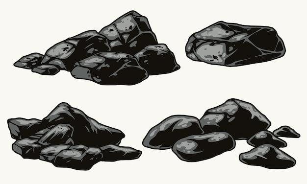 빈티지 스타일의 회색 돌 세트
