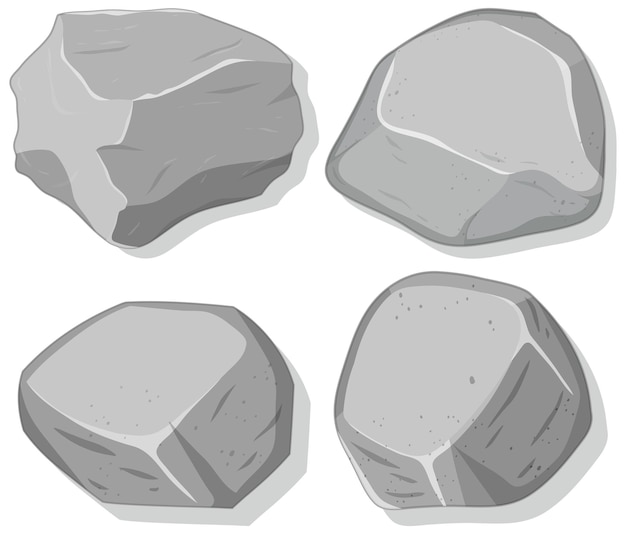 白い背景で隔離の灰色の石のセット