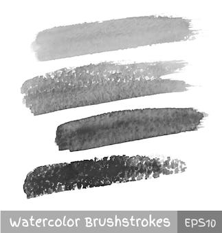 灰色の水彩ブラシストロークのセット