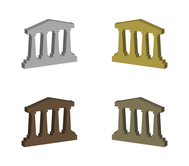 ギリシャの寺院のセット