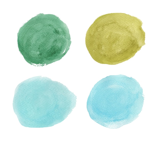 녹색과 파란색의 집합입니다. 라운드 수채화 밝아진. 원 요소
