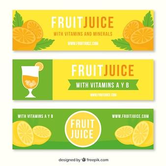 緑とオレンジの果物ジュースのバナーのセット