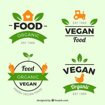 유기농 식품으로 녹색과 주황색 레이블 집합