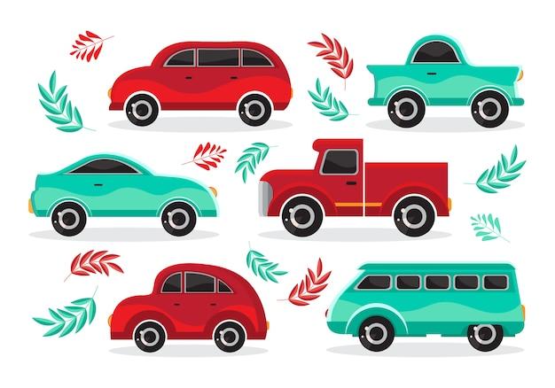 フラットベクトルの緑と赤の漫画車のセット。輸送車両。子供のスタイルのおもちゃの車。ステッカー、ロゴ、ラベルの楽しいデザイン。白い背景の上の孤立したオブジェクト。横からの眺め。