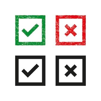 緑と赤の十字とフックのセットチェックマーク[ok]と[x]アイコン記号[はい]と[いいえ]ボタンで投票を決定します。グランジスタンプテンプレート。