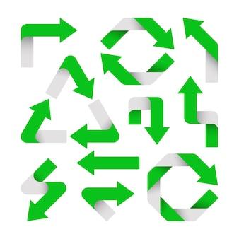 緑の矢印のセットが分離されています Premiumベクター