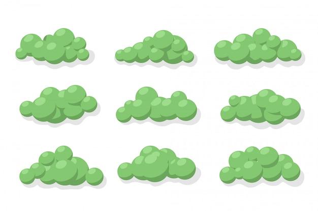 緑の茂みのセットです。白のイラスト。
