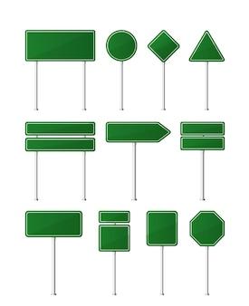 녹색 도로 표지판의 집합입니다. 흰색 바탕에. 도로 표지판 템플릿.