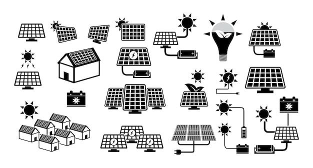 녹색 에너지 아이콘 또는 태양 전지 패널 아이콘 개념 eps 벡터의 집합