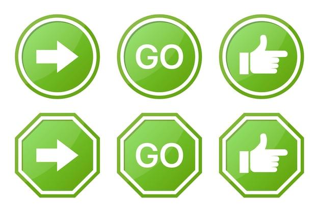 Набор зеленого знака go со стрелкой, словом и рукой