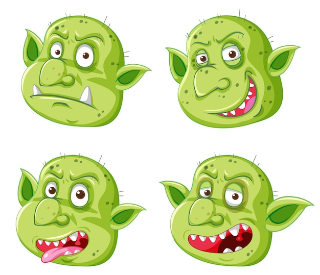 分離された漫画のスタイルの異なる表現で緑のゴブリンやトロールの顔のセット