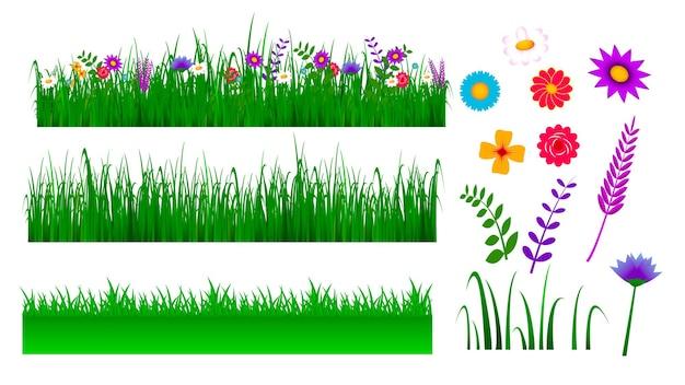 Набор зеленой травы границы иллюстрации или пейзажной травы с цветением