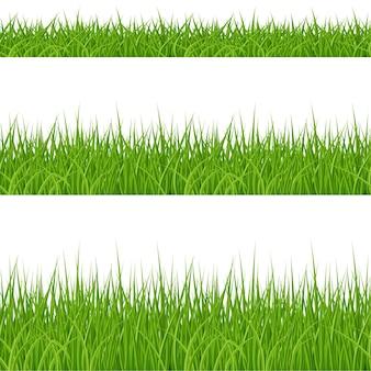 Набор элементов зеленой травы на белом фоне