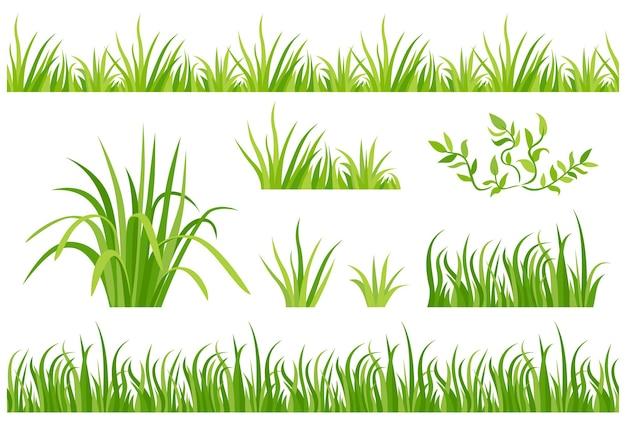 녹색 잔디 원활한 테두리의 세트