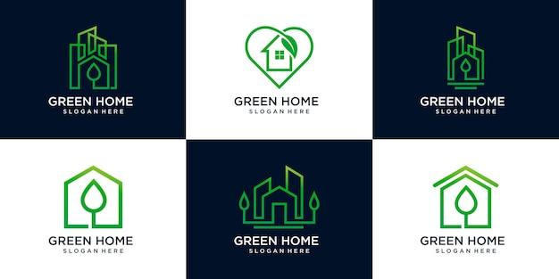 Набор шаблонов дизайна логотипа зеленого дома