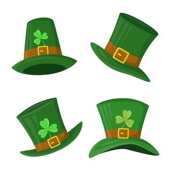 聖パトリックの日のためのクローバーの葉と緑のレプラコーンの帽子のセット