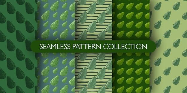 Набор зеленых тонов палитры бесшовные вегетарианские модели с авокадо