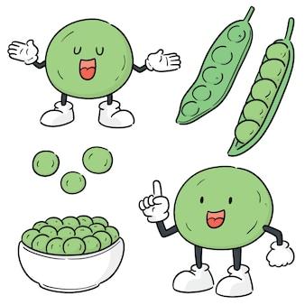 Набор зеленого горошка Premium векторы