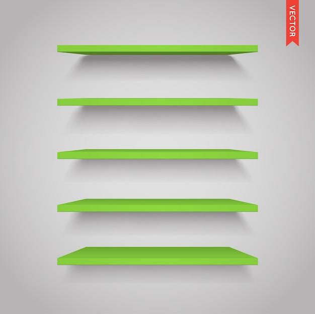 Набор зеленых пластиковых полок
