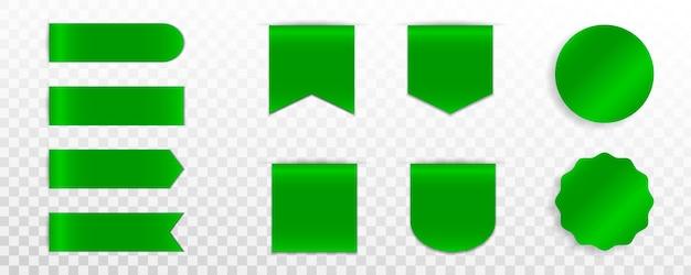 緑のプレミアムラベル、バッジまたはタグのセット