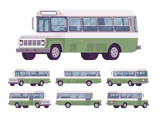 Набор зеленый ретро автобус, изолированные на белом фоне