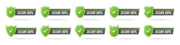 그림자와 함께 녹색 보안 배지 아이콘 세트