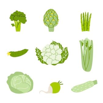 緑の野菜のセットは、白い背景で隔離の健康食品のベクトル図