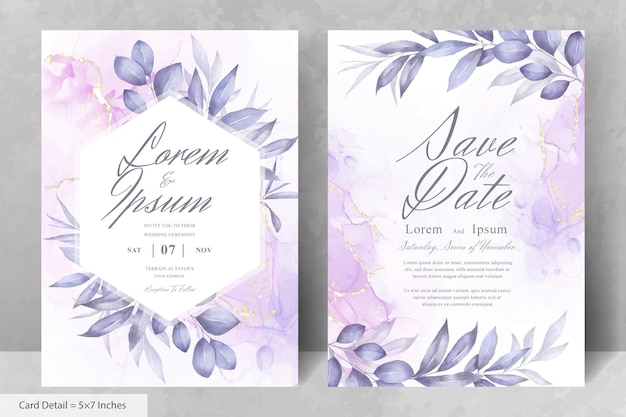 수채화 손으로 그린 꽃과 녹지 꽃 프레임 결혼식 초대 카드 서식 파일의 집합