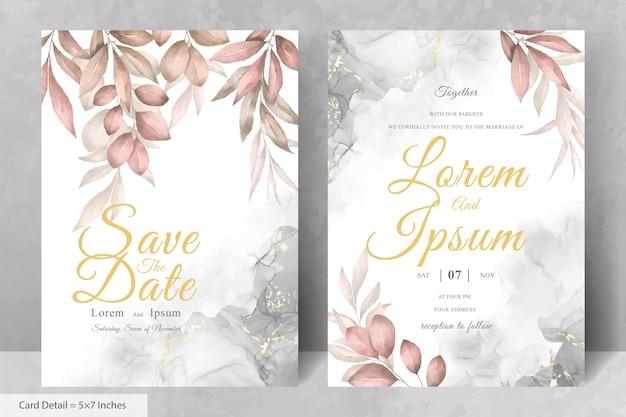 Набор зелени цветочная рамка свадебное приглашение шаблон карты с акварель рисованной цветочные