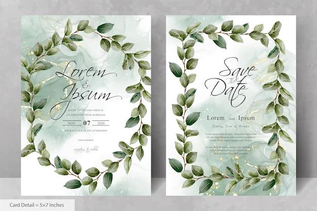 Набор приглашения на свадьбу зелени листвы с акварельным цветочным венком
