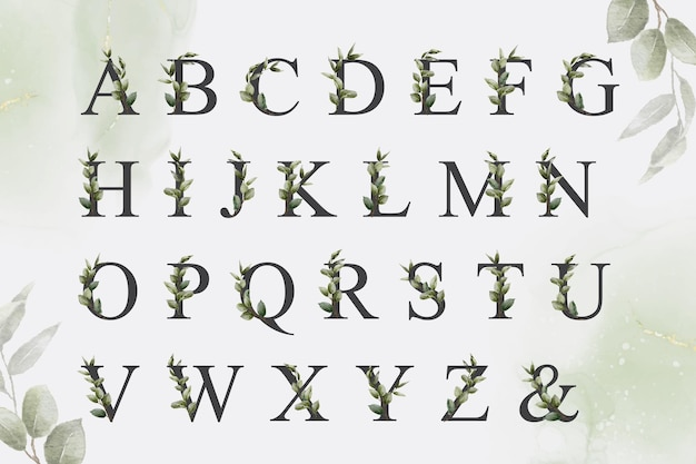手描きの葉と緑の水彩花のアルファベットのセット