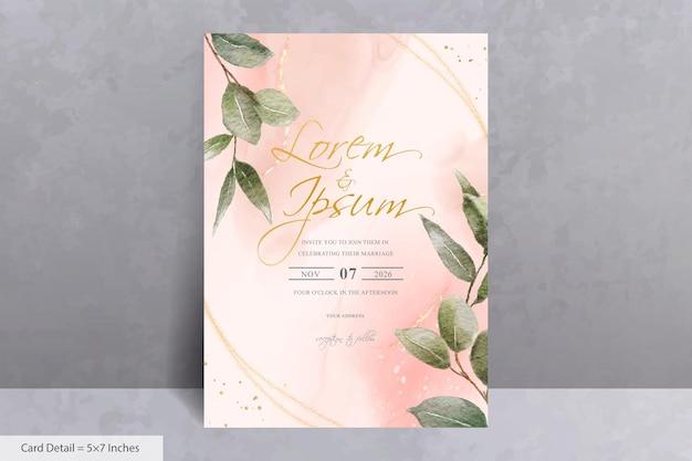 Набор зелени акварель свадебное приглашение шаблон карты с рисованной листьями