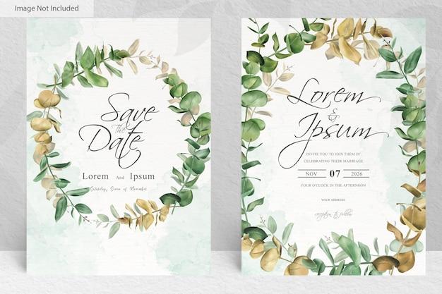 Набор зелени свадебные приглашения карты шаблон дизайна из листьев эвкалипта