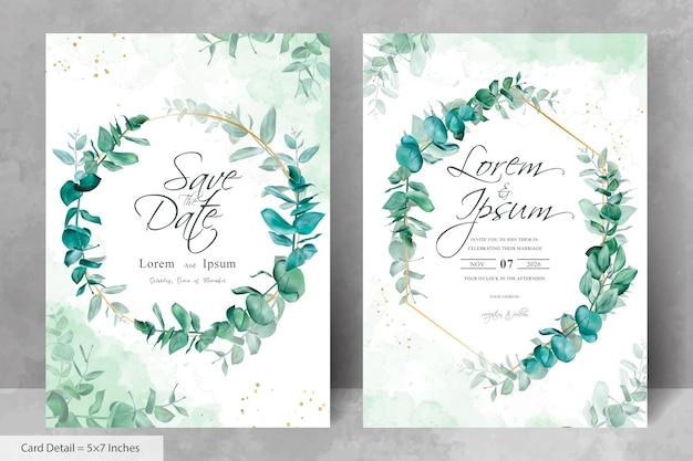 Набор зелени свадебное приглашение шаблон дизайна с листьями эвкалипта