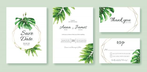 緑の結婚式の招待カードテンプレートのセット。